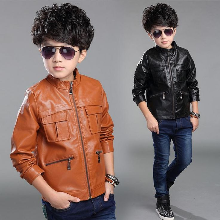 Classic boy leather jacket coat European style solid leather jacket coat for 4-12yrs boys male kids outerwear clothes hot sale
