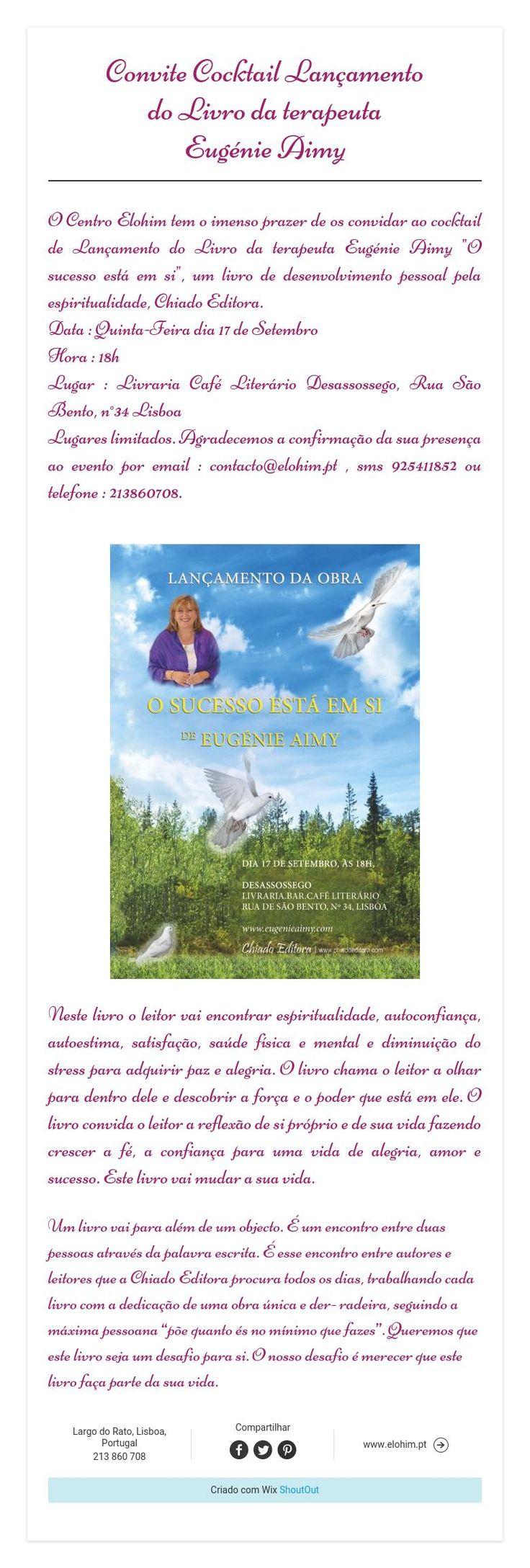 Convite Cocktail Lançamento   do Livro da terapeuta  Eugénie Aimy