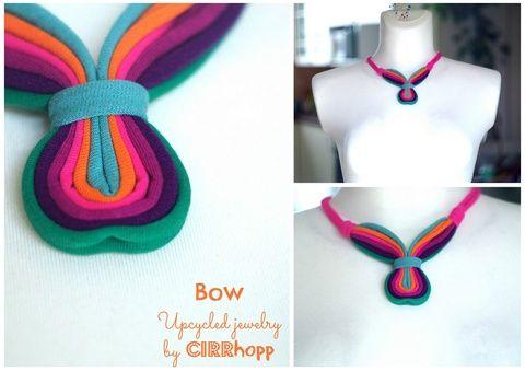 BOW textilnyaklánc - zöld/pink/narancs/lila cirrhopp iparművésztől