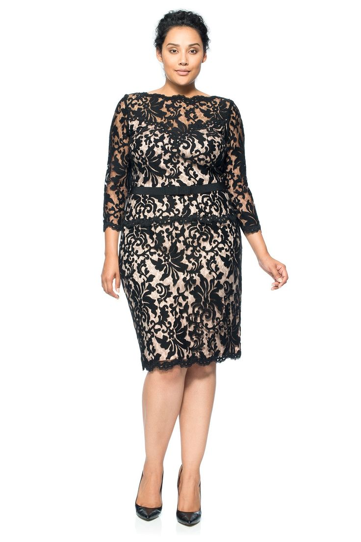 Illusion Lace ¾ Sleeve Dress - PLUS SIZE | Think Pink with Tadashi Shoji