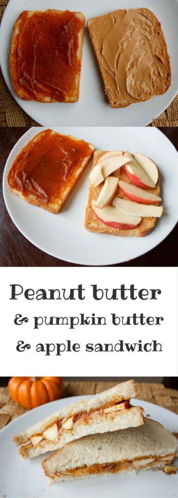 Peanut butter, pumpkin butter, and apple sandwich. A unique, crunchy and…