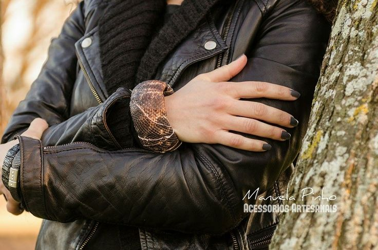 Wooden bracelet covered with genuine leather made by Manuela Pinho