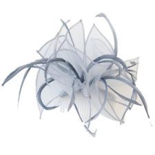 Organza Loop and Feather Comb Fascinator Wedding Races Bridal - Hair Accessories
