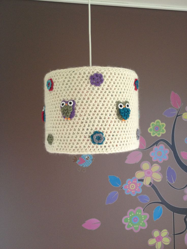 Crocheted lampshade for the nursery. #crochet #crocheted #lampshade #nursery #diy