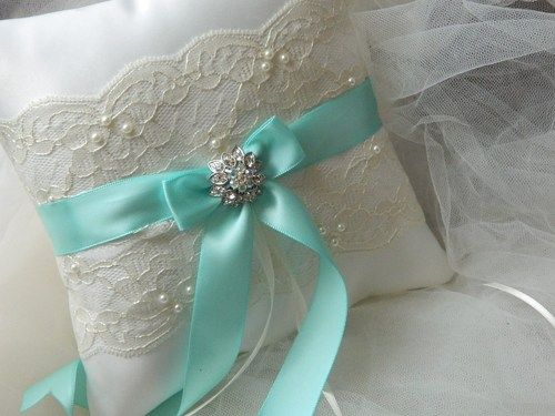 Wedding Ring Bearer Pillow tiffany And Ivory Satin And Lace Ringbearer
