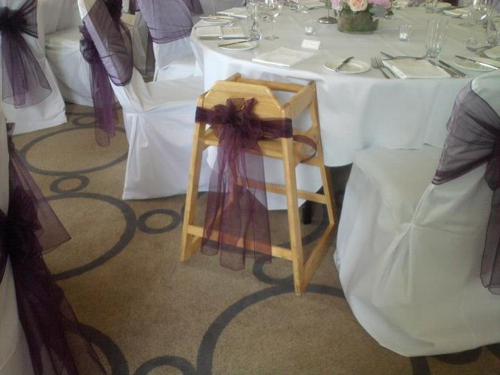 Aubergine organza sash on high chair