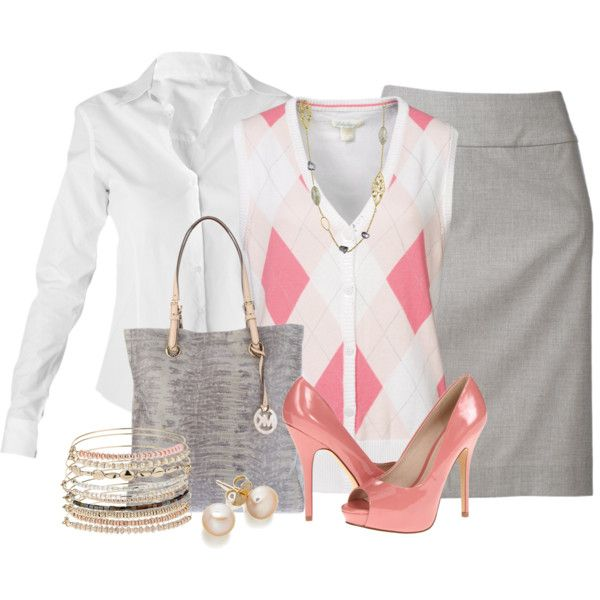 Crisp white shirt, grey pencil skirt, argyle sweater vest and Michael Kors shopper