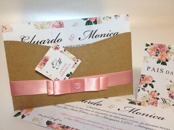 convite rustico floral | Lalita Convites | Elo7