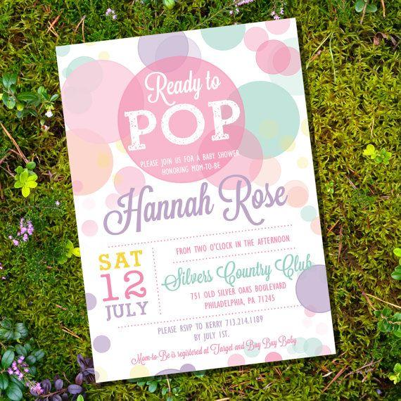 Ready To Pop Baby Shower Invitation in Whites por SunshineParties
