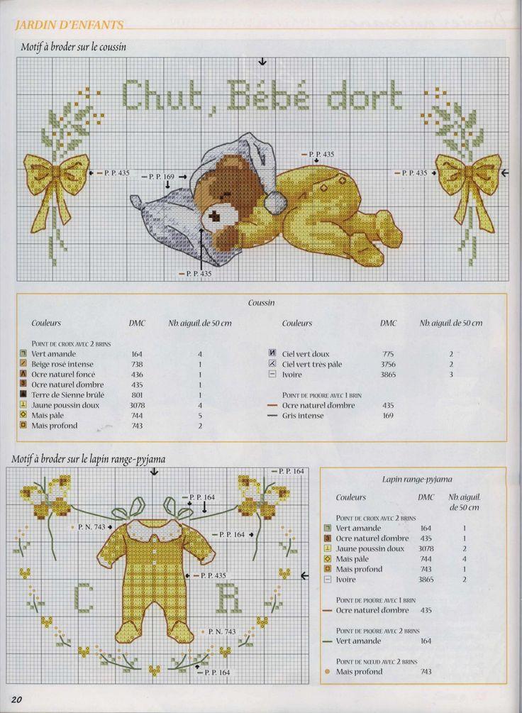 0 point de croix grille et couleurs de fils chut bébé dort, ourson, gigoteuse jaune