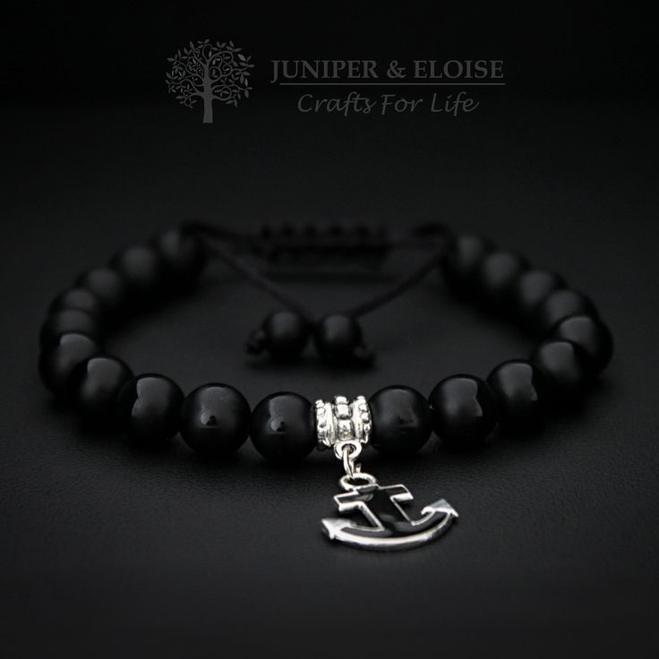 Christmas Gift, Anchor Bracelet, Mens Bracelet, Black Friday Deal, Gemstone Bracelet, Black Anchor, Black Sails, Nautical Jewelry by JuniperandEloise on Etsy