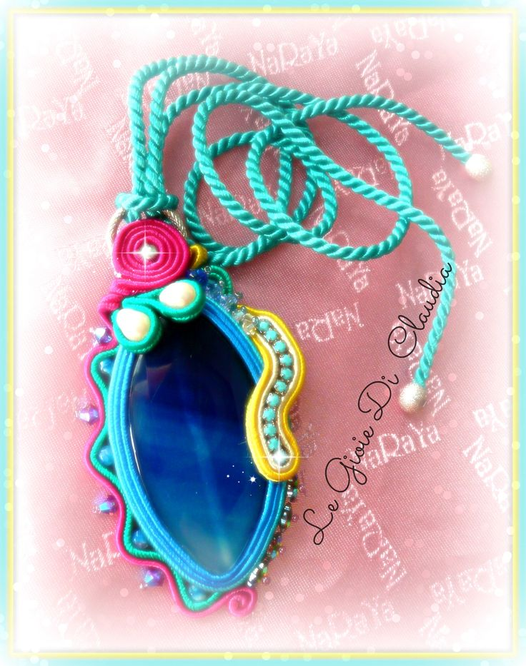 """Blue Agate"" Technical soutaches agate pendant with crystals and stones"