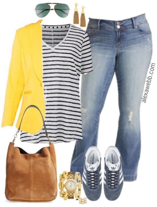 Plus Size Yellow Blazer Outfit - Plus Size Fashion for Women - alexawebb.com #alexawebb