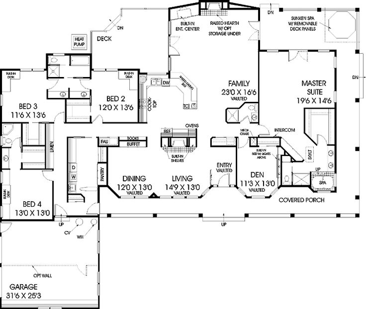 Floor plans aflfpw20591 1 story farmhouse home with 5 for 3600 sq ft house plans