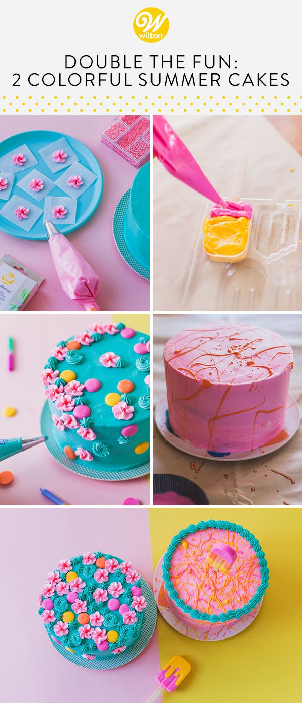 Double The Fun 2 Colorful Summer Cakes With Images Summer