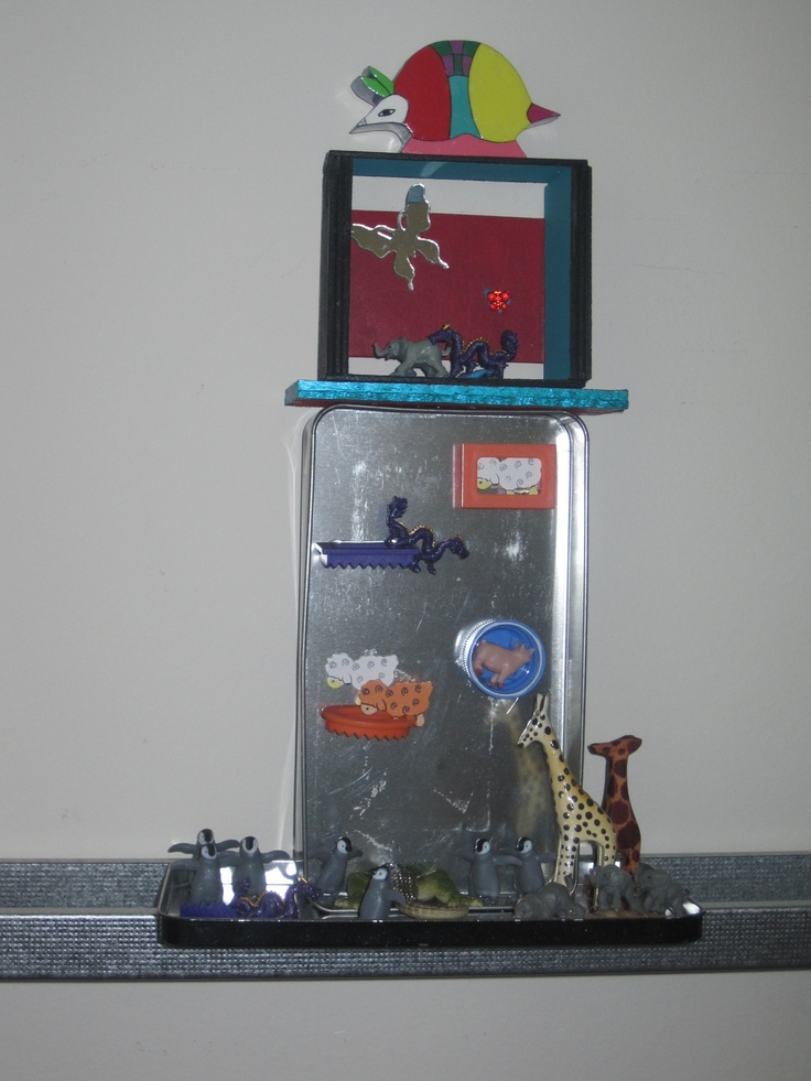 My original assemblage with recycled metal box and found objects.