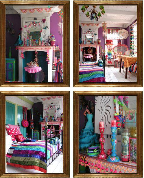 Look at all the #color! #Gypsy style #Bohemian... Keltainen talo rannalla: Koteja