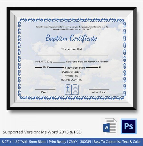 Free Printable Baptism Certificates Fresh 20 Baptism Certificates In 2020 Certificate Templates Free Printable Certificate Templates Certificate Of Completion Template