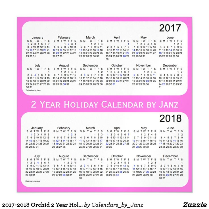 2017-2018 Orchid 2 Year Holiday Calendar by Janz Magnetic Card