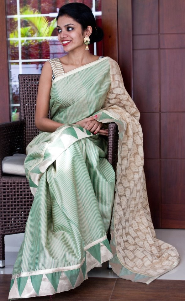 NVY studio - Pista Green tussar jute saree from NVY studio