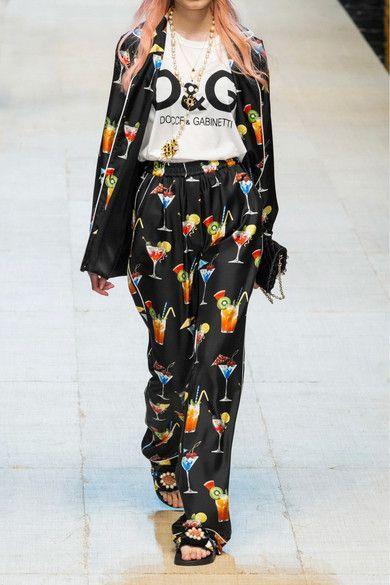 Dolce & Gabbana - Printed Silk-twill Pants - Black - IT44