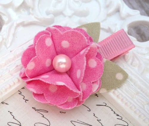 Fabric Flower Hair Clip Pink Dots by PoshPetalsbySteph on Etsy