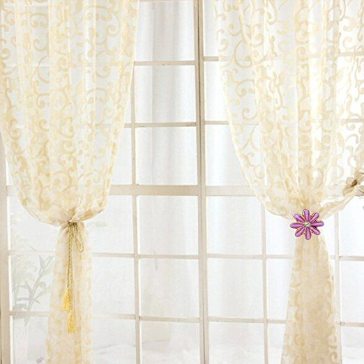Amazon.com: Sunonline Diamond Flower Window Curtain Tieback Buckle Curtain Hooks Holdback (Yellow): Home & Kitchen