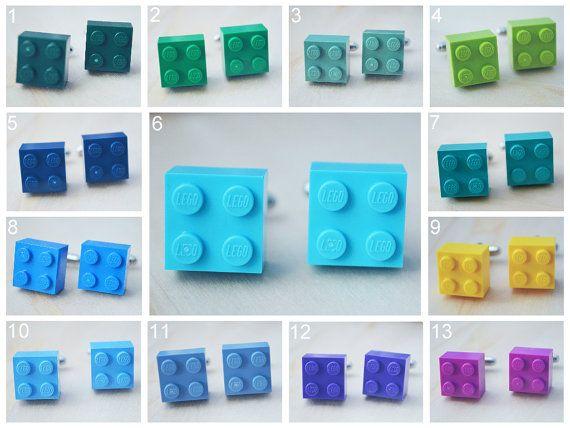 Wedding Cufflinks With Lego Bricks - Pick Your Color Cufflinks - Hipster Groomsmen Cuff Links