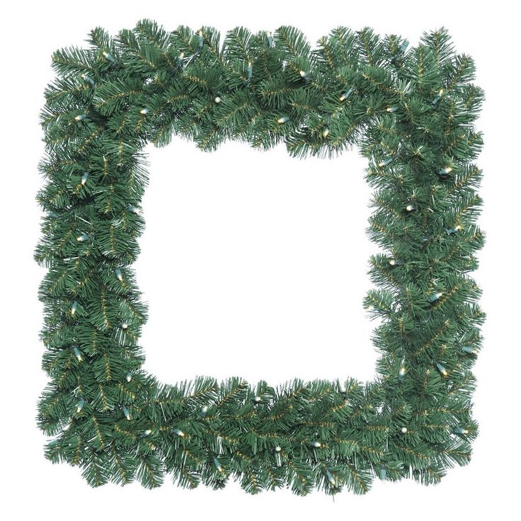 Vickerman 24 in. Oregon Fir Square Pre-Lit Wreath with 50 Warm White Lights - C164825LED