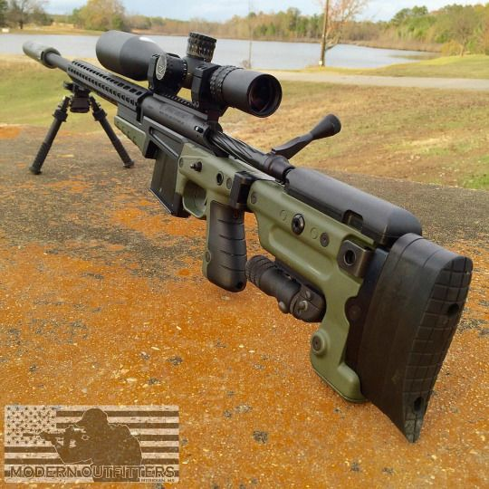 338 Lapua in an Accuracy International folding chassis. Optics by Night Force with Atlas Bipod.