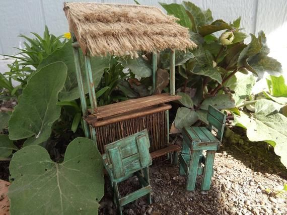 Miniature Garden Bar Set Fairy Garden Bar Distressed Turquoise
