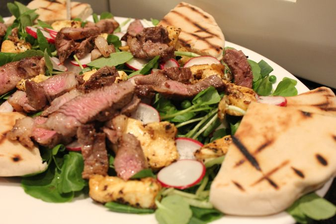 Delicious spring meal: Lamb and Haloumi salad with grilled pitas, watercress, fresh peas and a mint dressing