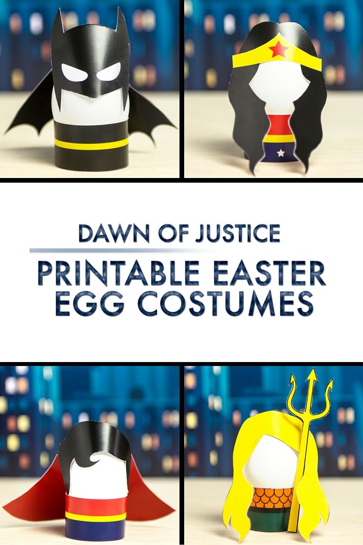 Printable Easter egg costumes perfect for making Easter super! #JusticeLeague