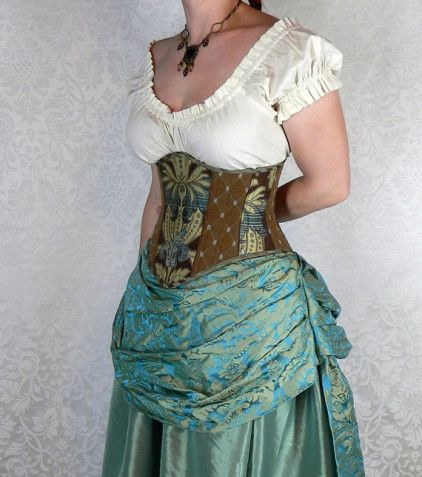 Patchwork Victorian Steampunk Corset - You Choose Your Corset Style - Brown, Seafoam, & Teal - Custom Sized by VeneficaCorsetry - Steampunk Steampunk Clothing - Smoked Glass Goggles