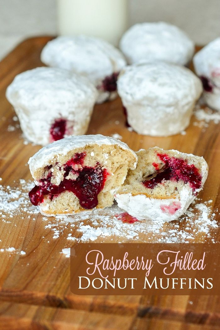 Raspberry Filled Donut Muffins - these powdered donut muffins with raspberry jam filling are a great brunch alternative to high fat fried donuts but with plenty of authentic donut flavour.