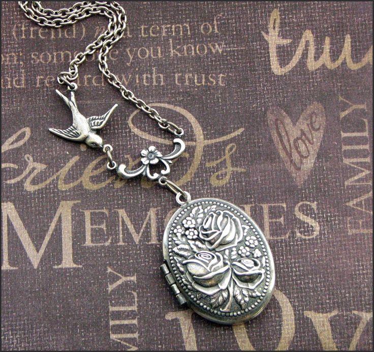 Silver Locket Necklace - Enchanted Rose Garden - Jewelry by TheEnchantedLocket - PETITE Wedding Bride Wife Christmas Gift by TheEnchantedLocket on Etsy https://www.etsy.com/listing/62471107/silver-locket-necklace-enchanted-rose