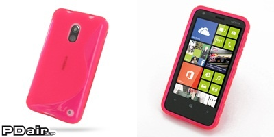 PDair Soft Plastic Case for Nokia Lumia 620 (Pink/S Shape pattern)