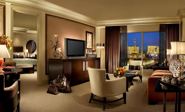 A room at the Bellagio Hotel with a beautiful view