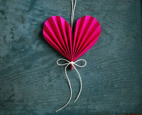 Happy Valentines Day  Heart,  Hot Pink Paper Ornament, Valentine's Day Gift, Paper Anniversary Wedding Gift