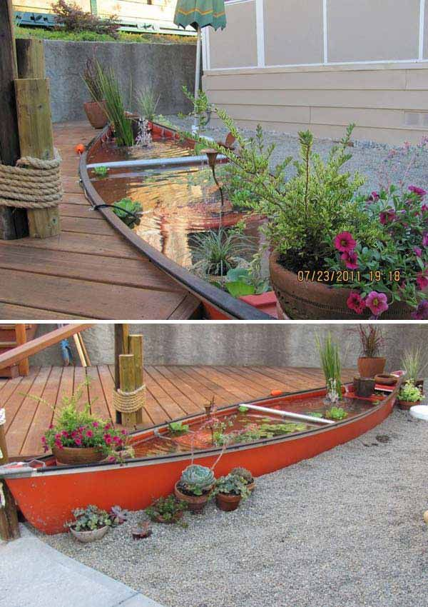 Repurpsed an old canoe as a backyard fish pond.