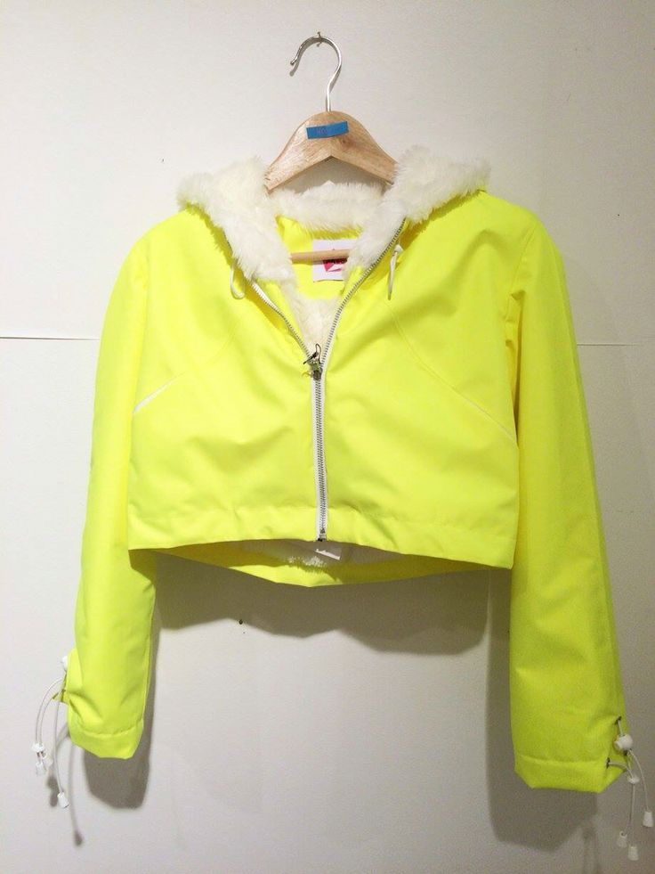 Yellow hoodie jacket with faux fur lining