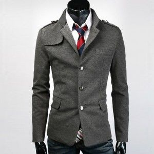 SLIM FIT STAND COLLAR SINGLE BREASTED SUIT COAT BLAZER MF 1514-in Jackets