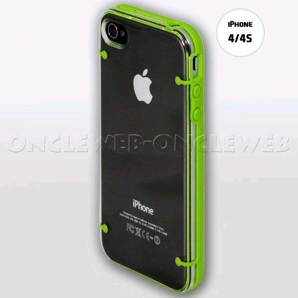coque iphone 4s transparente vert plexi sur. Black Bedroom Furniture Sets. Home Design Ideas
