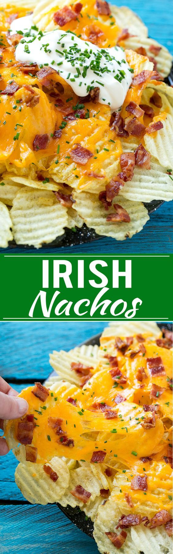 This recipe for Irish Nachos is potato chips layered with plenty of cheese and baked potato toppings. It's a simple yet unique snack that's perfect for parties! #ad
