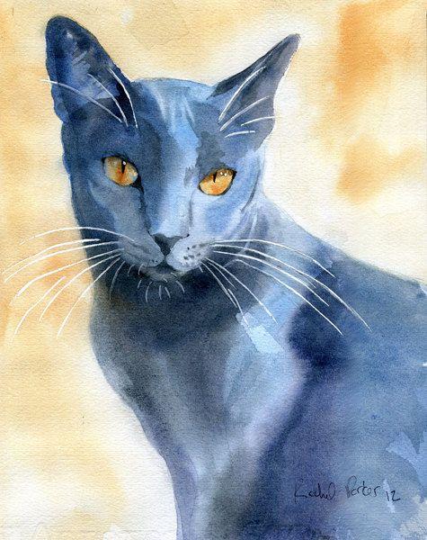 Blue Russian Cat Watercolour Paintings