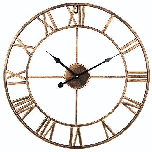 SOLEDI Vintage Clock European Retro Handmade Iron 3D Decorative Wall Clock