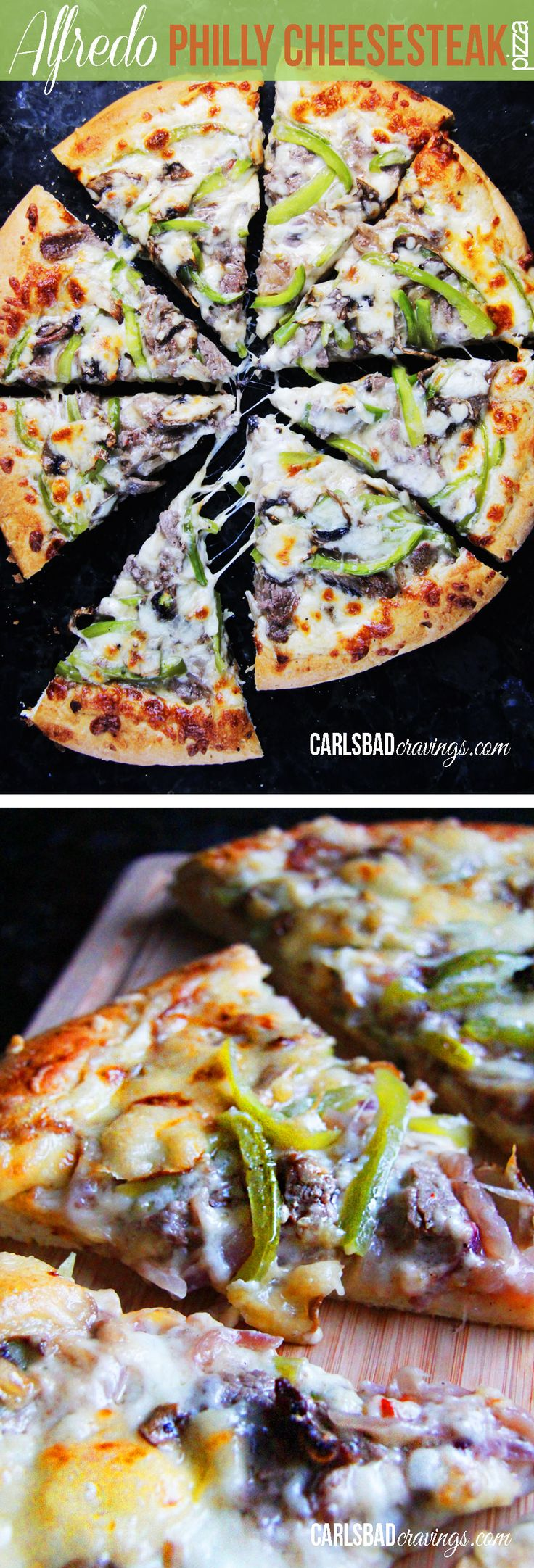 SO EASY! and CRAZY GOOD! Alfredo Philly Cheesesteak Pizza - Thinly sliced steak marinated in Italian Dressing, Worcestershire sauce, garlic and a pinch of red pepper layered on top of Alfredo! | Carlsbad Cravings