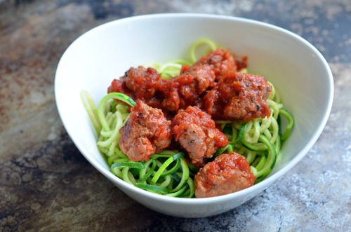Zucchini Spaghetti (Zoodles!) & Meatballs Recipe with zucchini, kosher salt, freshly ground pepper