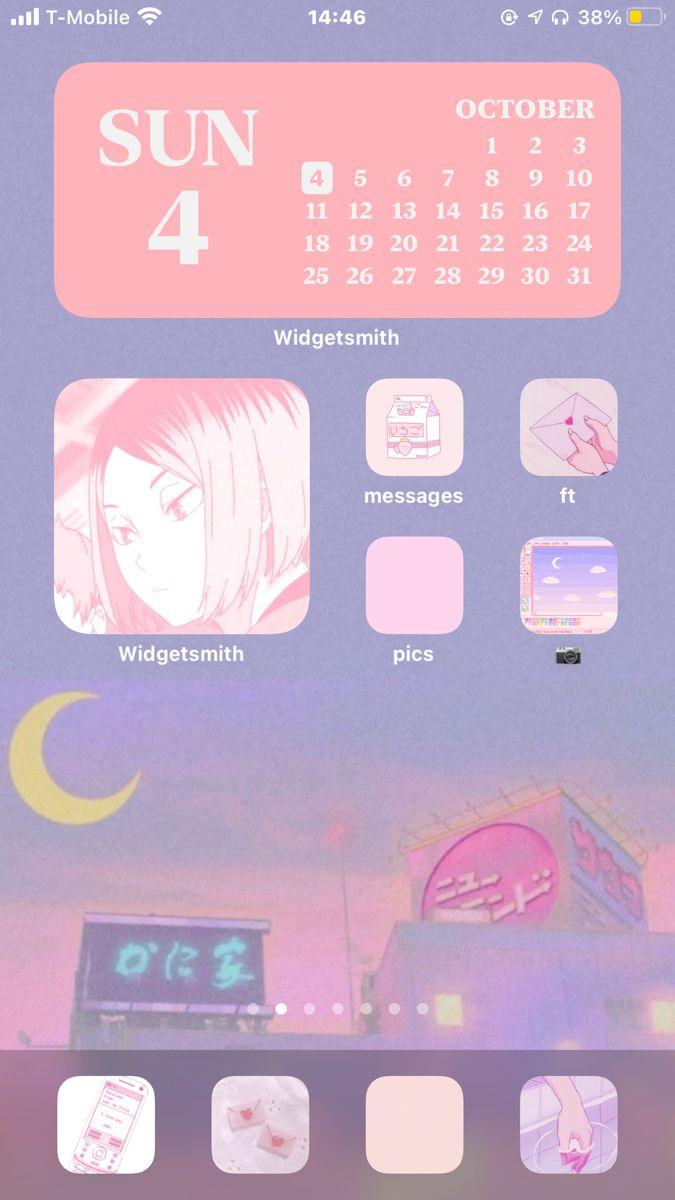 Aesthetic Pink Homescreen Widgets Apps Anime Ios 14 Ideas Homescreen Iphone Organization Aesthetic Iphone Wallpaper