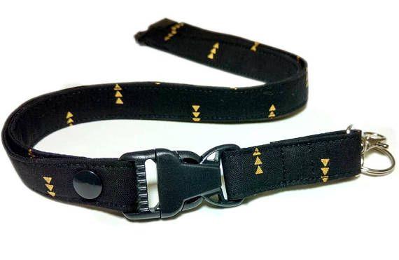 Tribal Black and Gold Arrow Key Lanyard Trendy Black